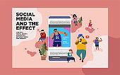 happy people on social media addiction illustration, can use for, landing page, template, ui, web, mobile app, poster, banner, flyer