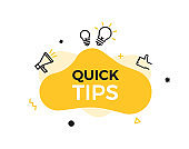Quick Tips text on a fluid trendy shape with geometric elements. Vector design banner abstract liquid shape with megaphone, thumbs up and lightbulb idea line icons. Concept for helpful tricks, advice, knowledge, ideas