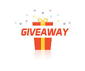 Giveaway illustration with gift box opening, firework and sparkles. Vector graphic banner design background and illustration for social media, business, marketing, promotions