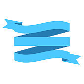 vector ribbon banner flat isolated on white background, Illustration of blue tape