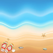 Summer season with copy space for text on the beach blue wave background design, vector illustration.