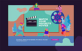 movie festival, online cinema vector illustration concept, people watching movie by online streaming, millenial vlogger, can use for, landing page, template, ui, web, homepage, poster, banner, flye