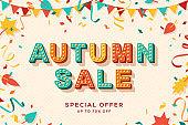 Autumn sale vector banner template