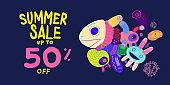 Summer Sale 50% discount Colorful Banner Doodle illustration