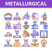 Metallurgical Collection Elements Icons Set Vector