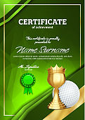 Golf Certificate Diploma With Golden Cup Vector. Sport Graduation. Elegant Document. Luxury Paper. A4 Vertical. Championship Illustration