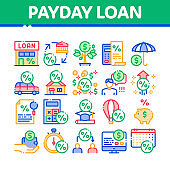 Payday Loan Collection Elements Icons Set Vector
