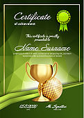 Golf Certificate Diploma With Golden Cup Vector. Sport Vintage Appreciation. Modern Gift. Print Blank. A4 Vertical. Event Illustration