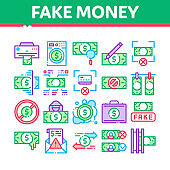 Fake Money Collection Elements Icons Set Vector