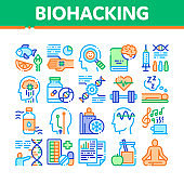 Biohacking Collection Elements Icons Set Vector