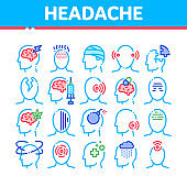 Headache Collection Elements Vector Icons Set