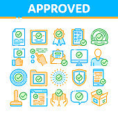 Approved Collection Elements Vector Icons Set