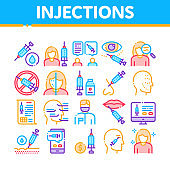 Injections Collection Elements Icons Set Vector
