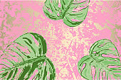 Tropical hand painted palm leaves summer background