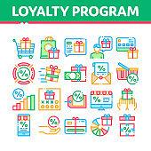 Loyalty Program For Customer Icons Set Vector
