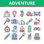 Adventure Collection Elements Icons Set Vector