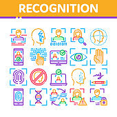 Recognition Collection Elements Icons Set Vector