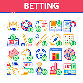 Betting And Gambling Collection Icons Set Vector