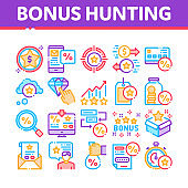 Bonus Hunting Collection Elements Icons Set Vector