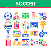 Soccer Football Game Collection Icons Set Vector