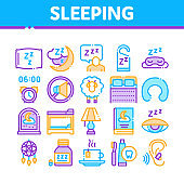 Sleeping Time Devices Collection Icons Set Vector