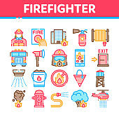 Firefighter Equipment Collection Icons Set Vector