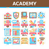 Academy Educational Collection Icons Set Vector