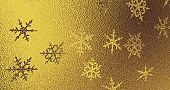 Golden foil with snowflakes texture. New year background. 3d render