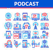 Podcast And Radio Collection Icons Set Vector