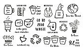 Hand drawn doodle elements of zero waste lifestyle