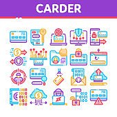 Carder Hacker Collection Elements Icons Set Vector