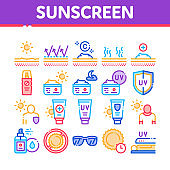 Sunscreen Collection Elements Icons Set Vector