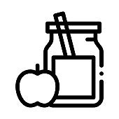 Jar with Healthy Drink and Apple Biohacking Icon Vector Illustration