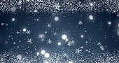 Snowflakes and bokeh lights on the blue Merry Christmas background. 3D rendering