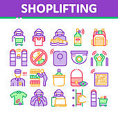 Shoplifting Collection Elements Icons Set Vector