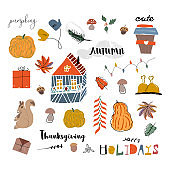 cute cartoon illustration clipart with different autumn holidays symbols, animals and characters.