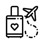 Valise And Airplane Honeymoon Trip Vector Icon