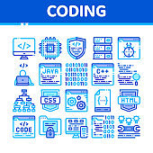 Coding System Vector Thin Line Icons Set
