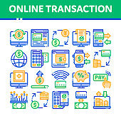 Online Transactions Vector Thin Line Icons Set