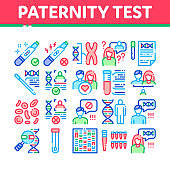 Paternity Test Dna Collection Icons Set Vector