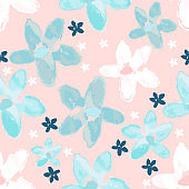 Tropical floral seamless watercolor pattern