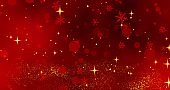 Red snowflakes and bokeh lights on the red Merry Christmas background. 3D rendering
