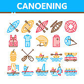 Canoeing Collection Elements Icons Set Vector
