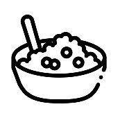 Caviar Dish Bowl Icon Vector Outline Illustration