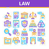 Law And Judgement Collection Icons Set Vector