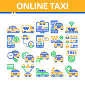 Online Taxi Collection Elements Icons Set Vector