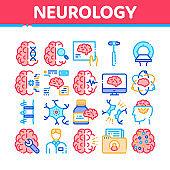 Neurology Medicine Collection Icons Set Vector