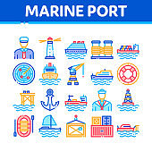 Marine Port Transport Collection Icons Set Vector