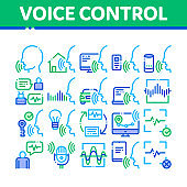Voice Control Collection Elements Icons Set Vector