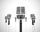 Microphone represents loudspeaker and performer like a singer - 3d illustration